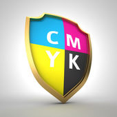 CMYK palette on the shield — Stock Photo