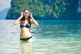 Kadın yüzme maskesi — Stok fotoğraf
