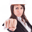 Business woman showing closed hand — Stock Photo