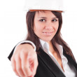Business woman, pointing forward — Stock Photo