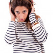 Young woman listening to music — Stock Photo #11229385