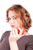 Comer manzana roja mujer — Foto de Stock