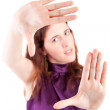 Woman showing framing hand gesture — Stock Photo