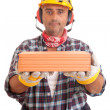 Construction worker offering services - Stock Photo