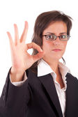 Business woman signaling ok — Stock Photo