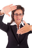 Business woman showing framing hand gesture — Foto Stock