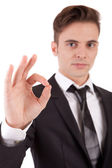 Business man signaling ok — Stock Photo