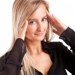 Young business woman with headache — Stock Photo