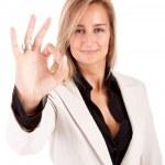 Business woman signaling ok — Stock Photo #11249630