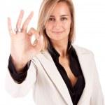 Business woman signaling ok — Stock Photo #11249645