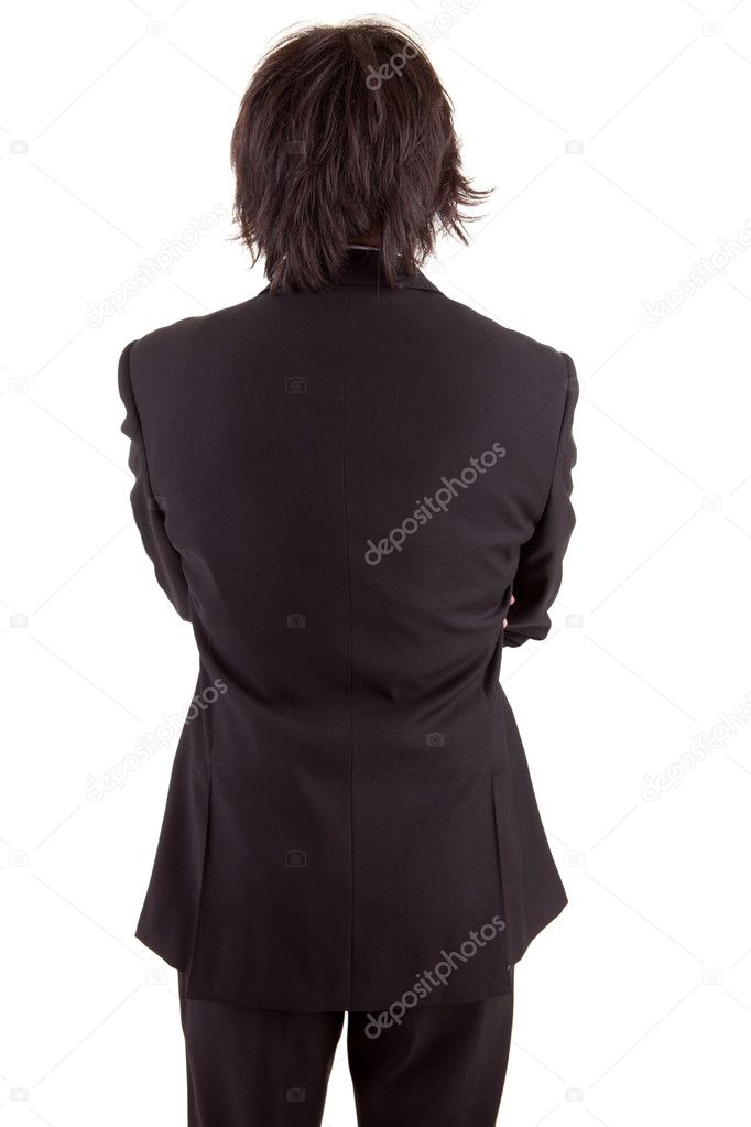 Business man posing backwards, isolated over white — Stock Photo #11254031