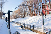 Channel in a winter park, city Perm — Stock Photo