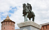 Monument to Dmitry Don at the Kremlin wall, city Kolomna, Moscow — Stock Photo