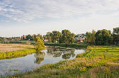 Beautiful summer landscape at a pond, Vladimirskiy area, Russia — Stock Photo