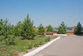 Um belo parque é no verão em um dia ensolarado — Foto Stock