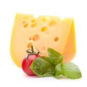 Cheese and basil leaves still life — Stock Photo