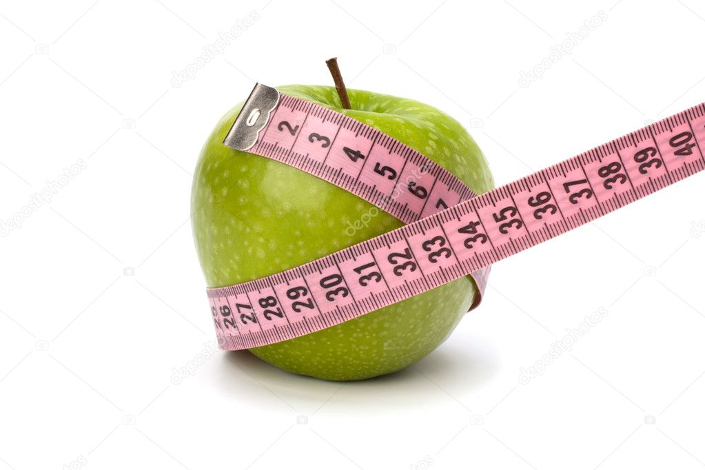 Apple with tape measure isolated on white background. Healthy lifestyle concept. — Lizenzfreies Foto #10935039