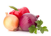 Sweet pepper, onion, tomato, and parsley leaves still life — Stock Photo