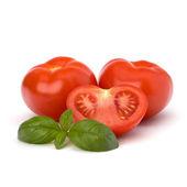 Tomato and basil leaf — Stock Photo