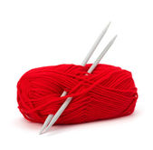 Woollen thread and knitting needle — Stock Photo