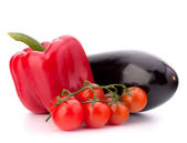 Sweet pepper, tomato, and eggplant still life — Stock Photo