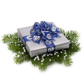 Silver gift box — Stock Photo