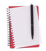 Red notebook with notice paper and pen — Stock Photo