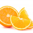 Orange fruit half and two segments or cantles — Stock Photo #11939292