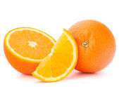 Whole orange fruit and his segments or cantles — Stock Photo