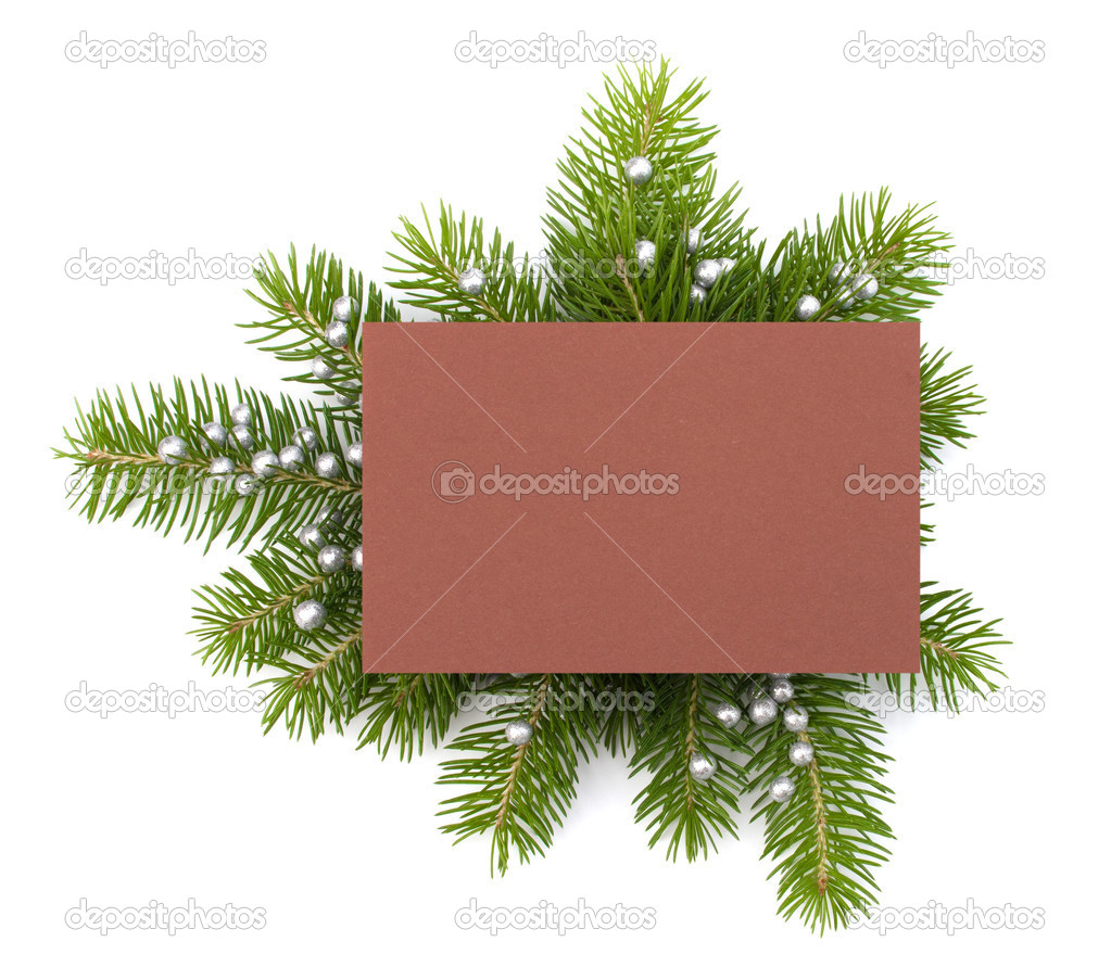 Christmas decoration with greeting card isolated on white background  Foto Stock #11939599