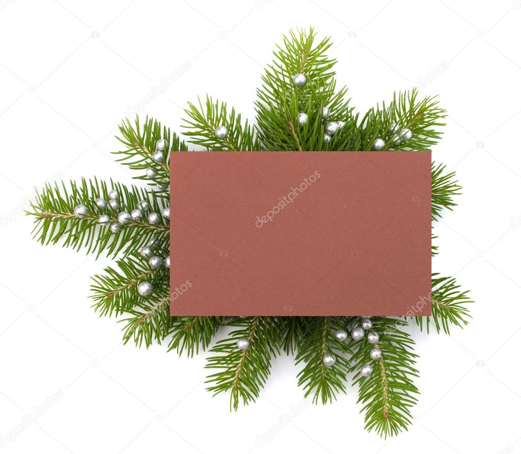 Christmas decoration with greeting card isolated on white background — Foto Stock #11939599