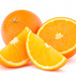 Whole orange fruit and his segments or cantles — Stock Photo #12111179