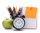 Alarm clock, blank notebook sheet and apple. — 图库照片