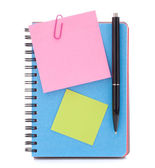 Blue notebook with notice papers and pen — Stock Photo