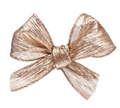 Festive gold gift bow — Stock Photo