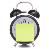 Alarm clock with sticky paper — Stock fotografie