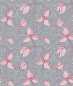 Seamless pattern pink orchid flowers — Stock Vector