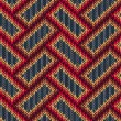 Vector de stock : Style Seamless Brown Red Blue Yellow Color Knitted Pattern