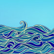 Abstract Waves Background, Vector Blue Colorful Hand-drawn Patte — Stock Vector #11550883