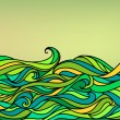Abstract Waves Background, Vector Blue Green Orange Colorful Han — Stock Vector #11805534