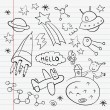 Outer space doodle notebook set — Stock Photo