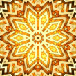 Shiny golden kaleidoscope star - Stock Photo