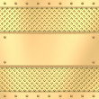 Blank golden plate on grid background with rivets - Stock Photo