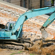 Operating excavator — Stock Photo