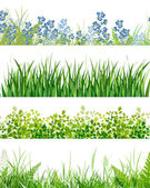 Green grass floral banners — Stock Vector