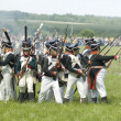 Borodino battle. Soldiers defends themselves — Stock Photo