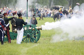 Borodino battle. Soldiers shutting — Stock Photo
