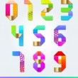 Colorful vector decorative paper numbers — Stock Vector