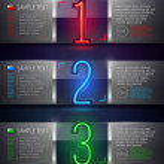 Zaprojektuj szablon - wektor metalu i szkła banery z neon numery — Wektor stockowy