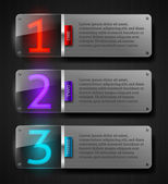 Graphic vector templates - textured metal banners with luminous numbers — Stock Vector